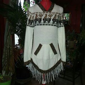 Soft Fringe Llama Hoodie. Hippie Sweatshirt